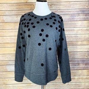 Boden Grey Black Flocked Spotty Sweatshirt Jumper